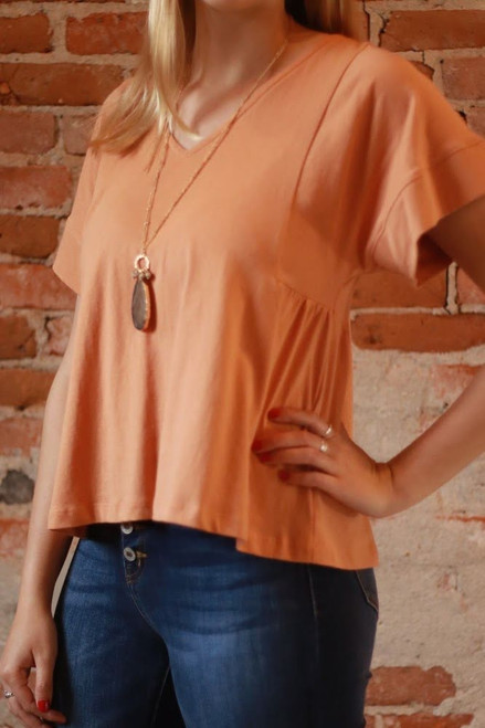 The Avery Jayne Dolman Sleeve Top in Apricot front view.