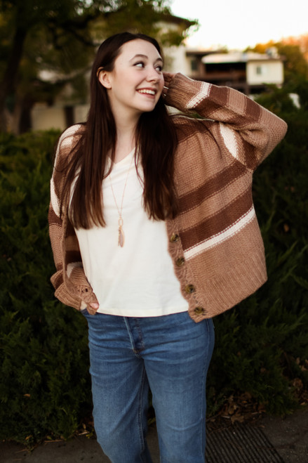 The Heather Grace Clay Striped Cardigan with Scalloped Edge front view.