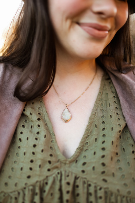 The Rosie Jo Teardrop Stone Necklace in Amazonite.