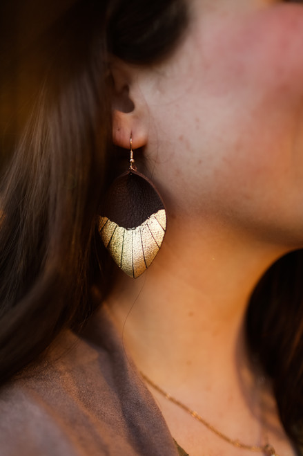 The Rosie Jo Gold Dipped Leather Teardrop Earrings in Brown.