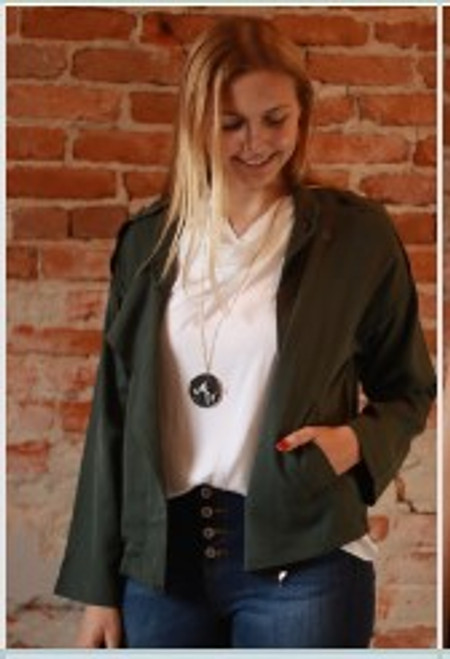The Zaida Mo Olive Oversized Tencel Zipper Front Jacket