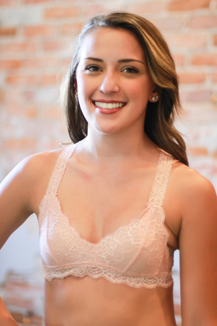 Delicately Stunning Y-Back Lace Bralette in Light Pink front view.