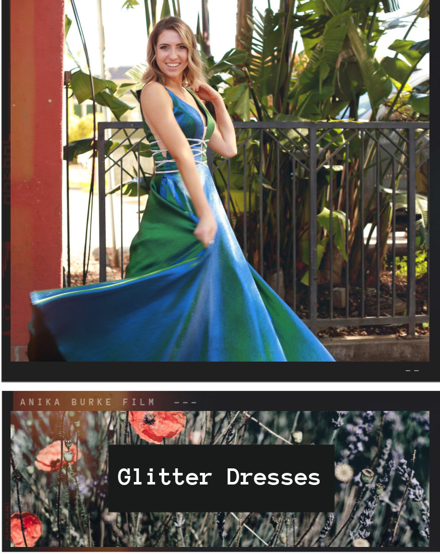 Teenage Girl Spinning in Green and Blue Glitter Dress