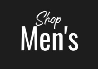 Black box with white text reading: Shop Men's
