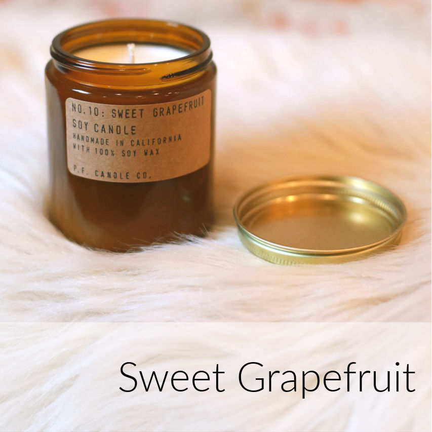 P.F. Sweet Grapefruit Candles: Ripe and fresh grapefruit, with sweet notes of peach and tangy mangosteen.