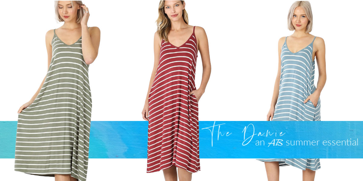 Shop The The danie  striped v-neck midi tank dress with adjustable straps.