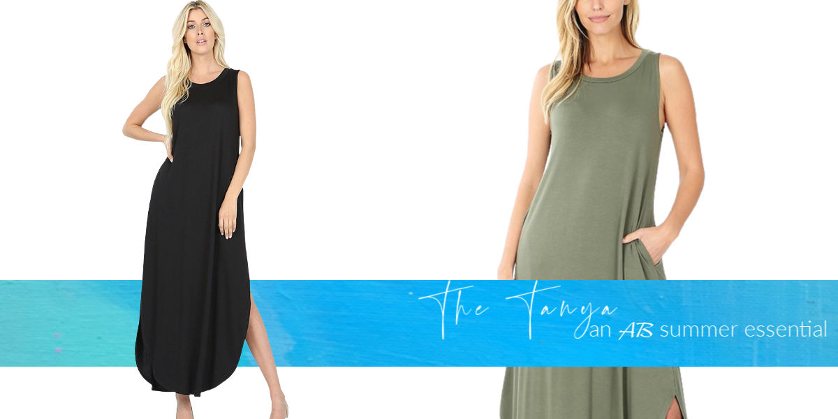 The Tanya Sleeveless viscose round neck dress with side slits & pockets