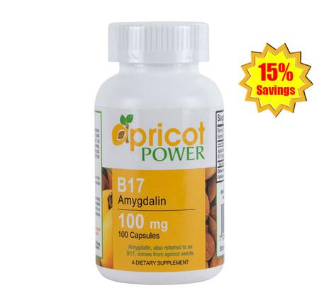 Apricot Power B17 Amygdalin 100mg Capsule - 2 Bottles x 100 Caps