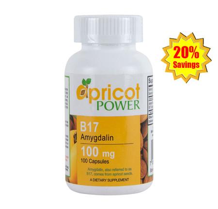 Apricot Power B17 Amygdalin - 100mg Capsule x 3 Bottles