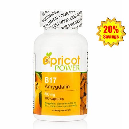 Apricot Power B17 Amygdalin 500mg Capsules - 100 Caps x 3 Bottles