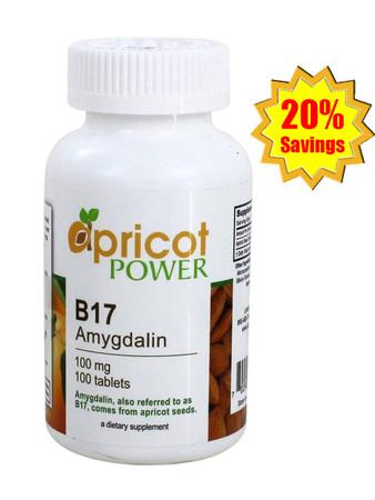 Apricot Power B17 Amygdalin 100mg Tablet - 100 Tabs x 3 Bottles