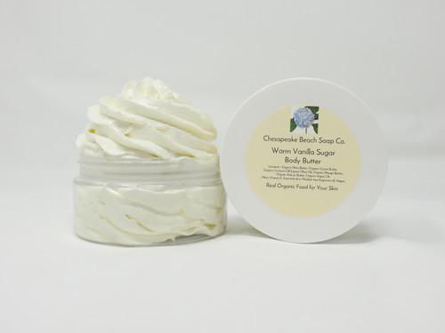"""We call this """"food for your skin"""" organic whipped shea, cocoa, coconut, olive, argan oil and liquid vitamin E.  This body butter will melt on contact and leave your skin glistening and hydrated.  Our best selling product, this is a vegan product"""