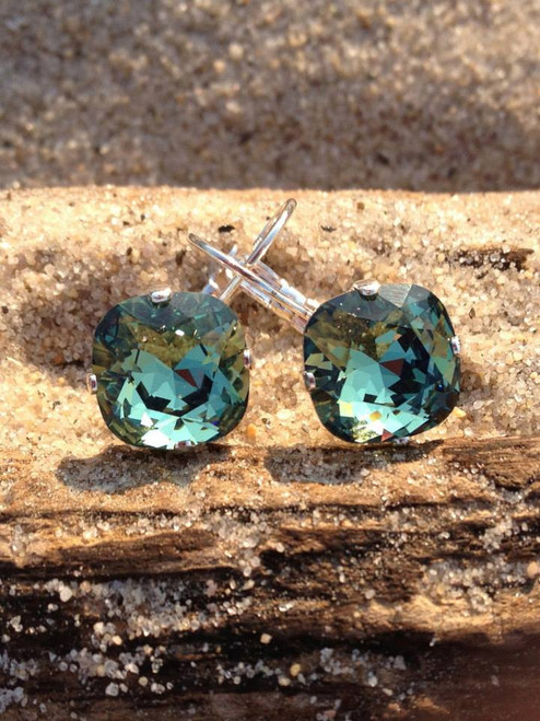 Swarovski 12mm cushion cut Leverback earring available in any Swarovski color