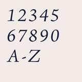 Jensen italic traditional serif font for house numbers, letters and signs in metal