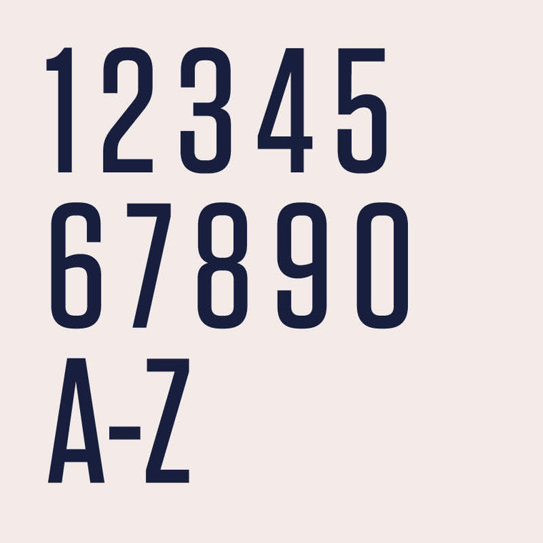 Tungsten Medium is a modern tall semi bold condensed typeface for house numbers, letters or signs