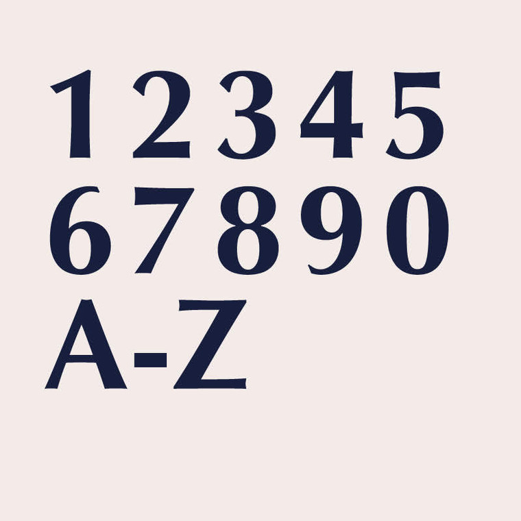 Optima bold transitional sans serif font for house numbers, letters and signs