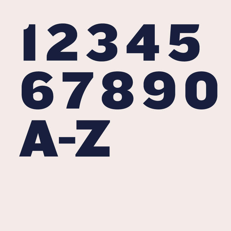 Knockout modern, thick and wide sans serif font for house numbers, letters and signs
