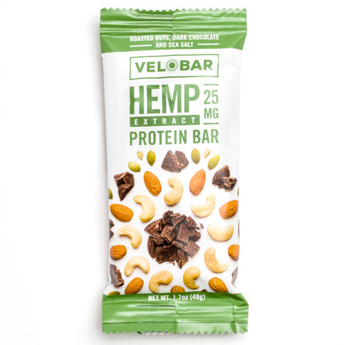 Velobar Hemp Extract 25mg CBD Protein Bar Roasted Nuts Dark Chocolate and Sea Salt Organic Vegan Gluten-free non-GMO Soy-free sports recovery fitness post workout healthy breakfast of happiness single bar