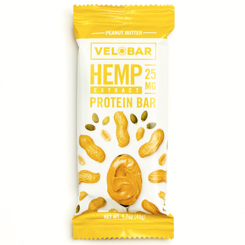 Velobar Hemp Extract 25mg CBD Protein Bar  4-pack PEANUT BUTTER Organic Vegan Gluten-free non-GMO Soy-free sports recovery post workout healthy breakfast of happiness single front