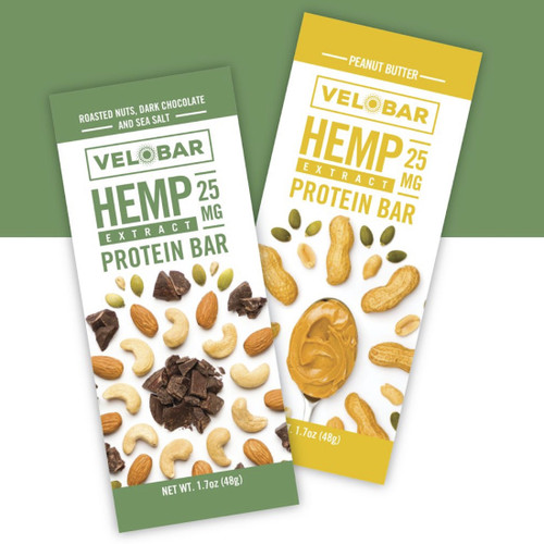 Velobar Hemp Extract 25mg CBD Protein Bar Mixed 4-Pack ROASTED NUTS DARK CHOCOLATE AND SEA SALT PEANUT BUTTER Organic Vegan Gluten-free non-GMO Soy-free sports recovery post workout healthy breakfast of happiness