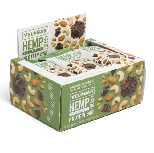 Velobar Hemp Extract 25mg CBD Roasted Nuts Dark Chocolate and Sea Salt 12-pack Protein Bar Organic Vegan Gluten-free Soy-free non-GMO plant-based wellness edibles fitness sports muscle recovery post workout healthy breakfast snacks