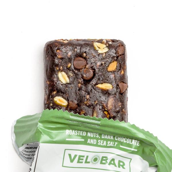 Velobar Hemp Extract 25mg CBD Protein Bar Roasted Nuts Dark Chocolate and Sea Salt Single Bar Closeup