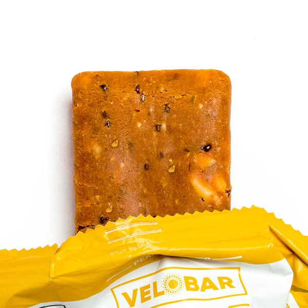 Velobar Hemp Extract 25mg CBD Protein Bar PEANUT BUTTER Organic Vegan Gluten-free non-GMO Soy-free sports recovery post workout healthy breakfast of happiness Single Package Closeup