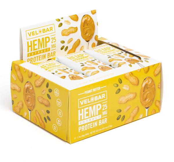 Velobar Hemp Extract Protein Bar Peanut Butter 12-pack