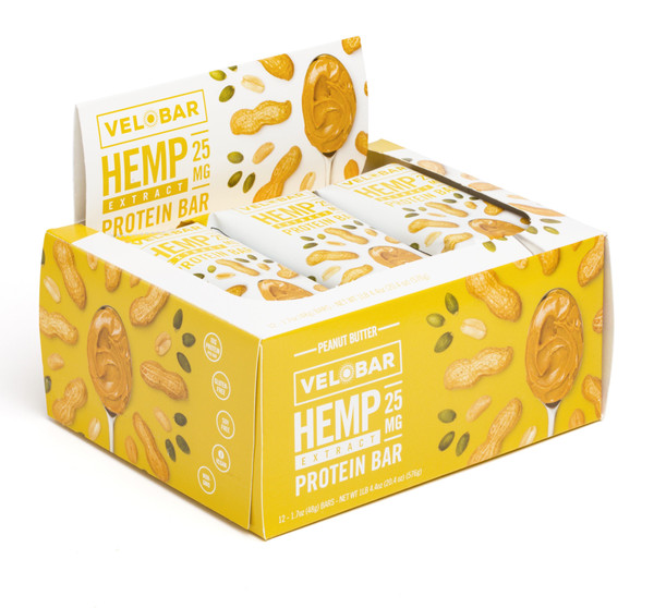 Velobar Hemp Extract 25mg CBD Protein Bar  12-pack PEANUT BUTTER Organic Vegan Gluten-free non-GMO Soy-free sports recovery post workout healthy breakfast of happiness single box
