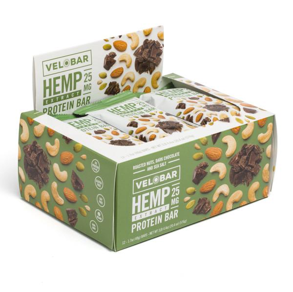 Velobar Hemp Extract 25mg CBD Roasted Nuts Dark Chocolate and Sea Salt 12-pack