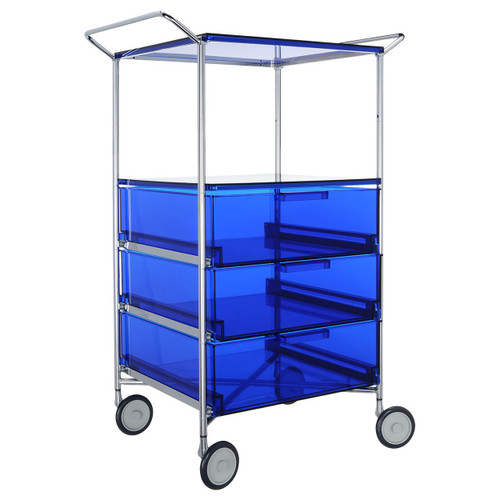 Mobil 3-Drawer Container and Shelf with Wheels by Kartell