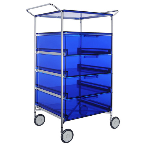 Mobil 4-Drawer Container and Shelf with Wheels by Kartell