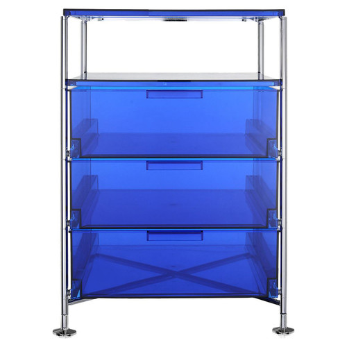 Mobil 3-Drawer Container with Shelf by Kartell