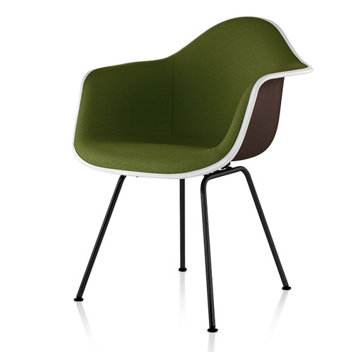Eames Upholstered Molded Fiberglass Armchair with 4-Leg Base by Herman Miller