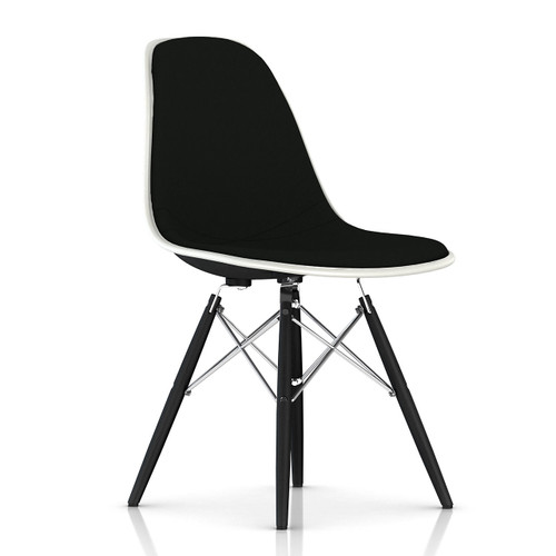 Eames Upholstered Molded Fiberglass Side Chair with Dowel Leg Base by Herman Miller