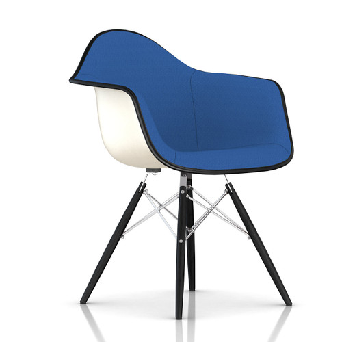 Eames Upholstered Molded Fiberglass Armchair with Dowel Leg Base by Herman Miller