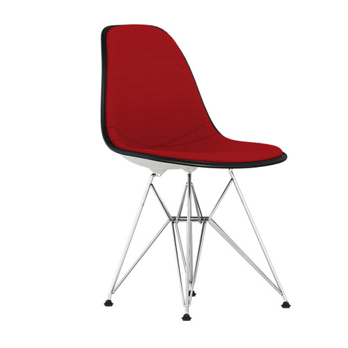 Eames Upholstered Molded Plastic Side Chair with Wire Base by Herman Miller