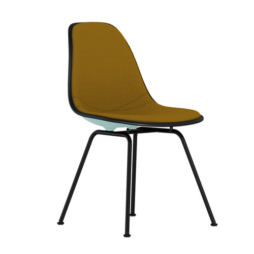 Eames Upholstered Molded Plastic Side Chair with 4-Leg Base by Herman Miller