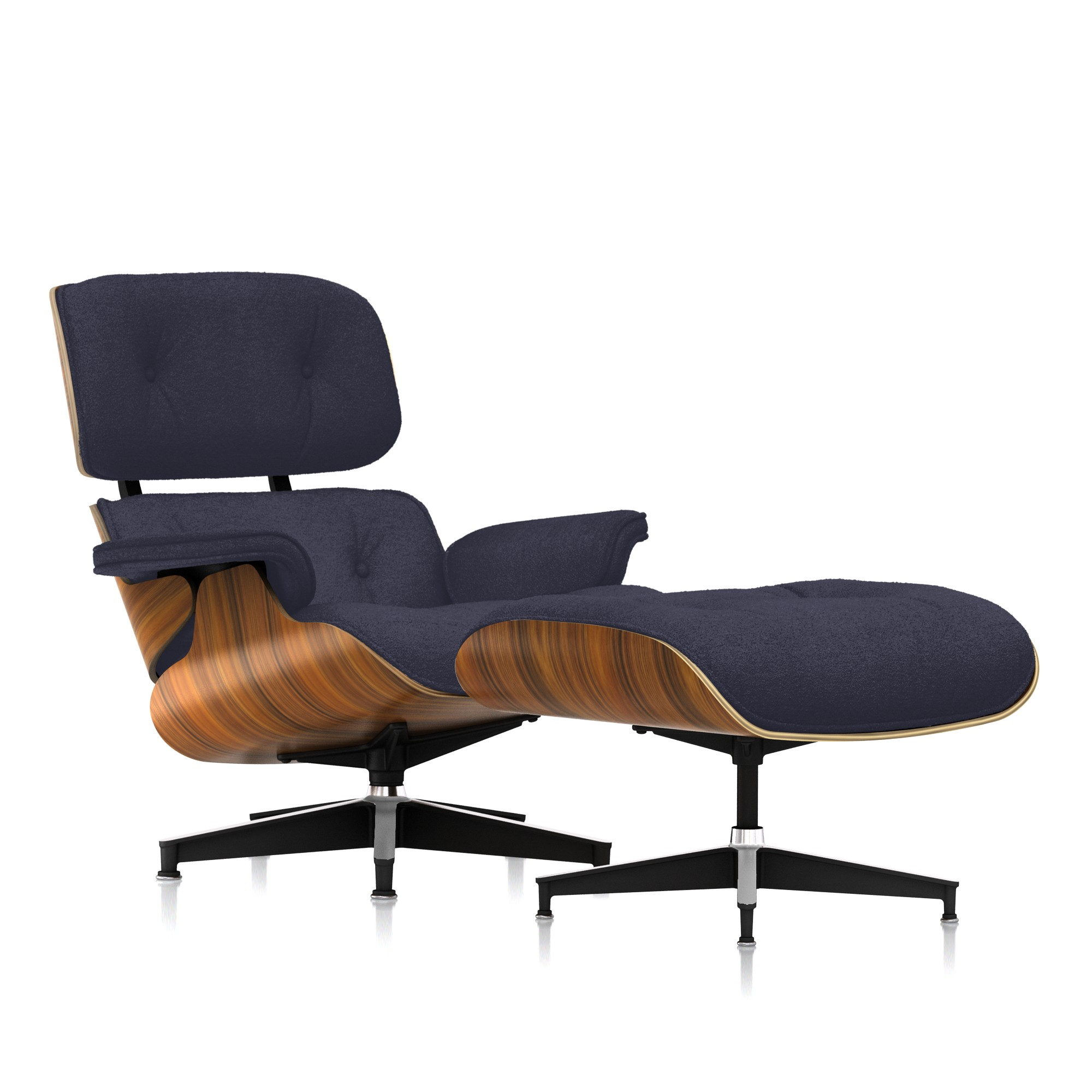 Eames Lounge Chair and Ottoman in Slate Mohair Supreme Classic by Herman Miller