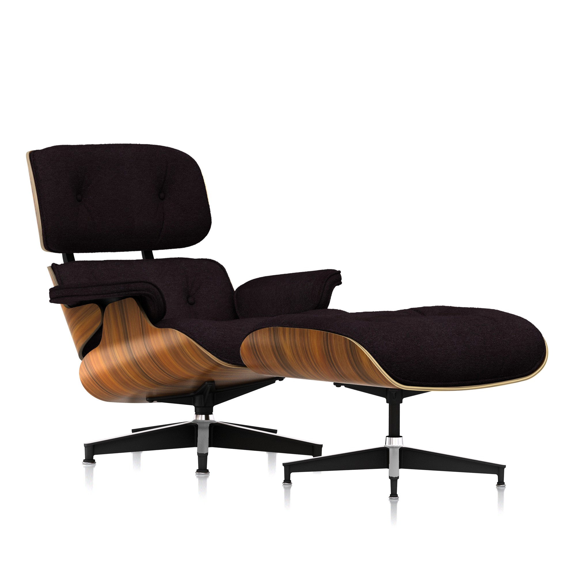 Eames Lounge Chair and Ottoman in Rich Chocolate Mohair Supreme Classic by Herman Miller