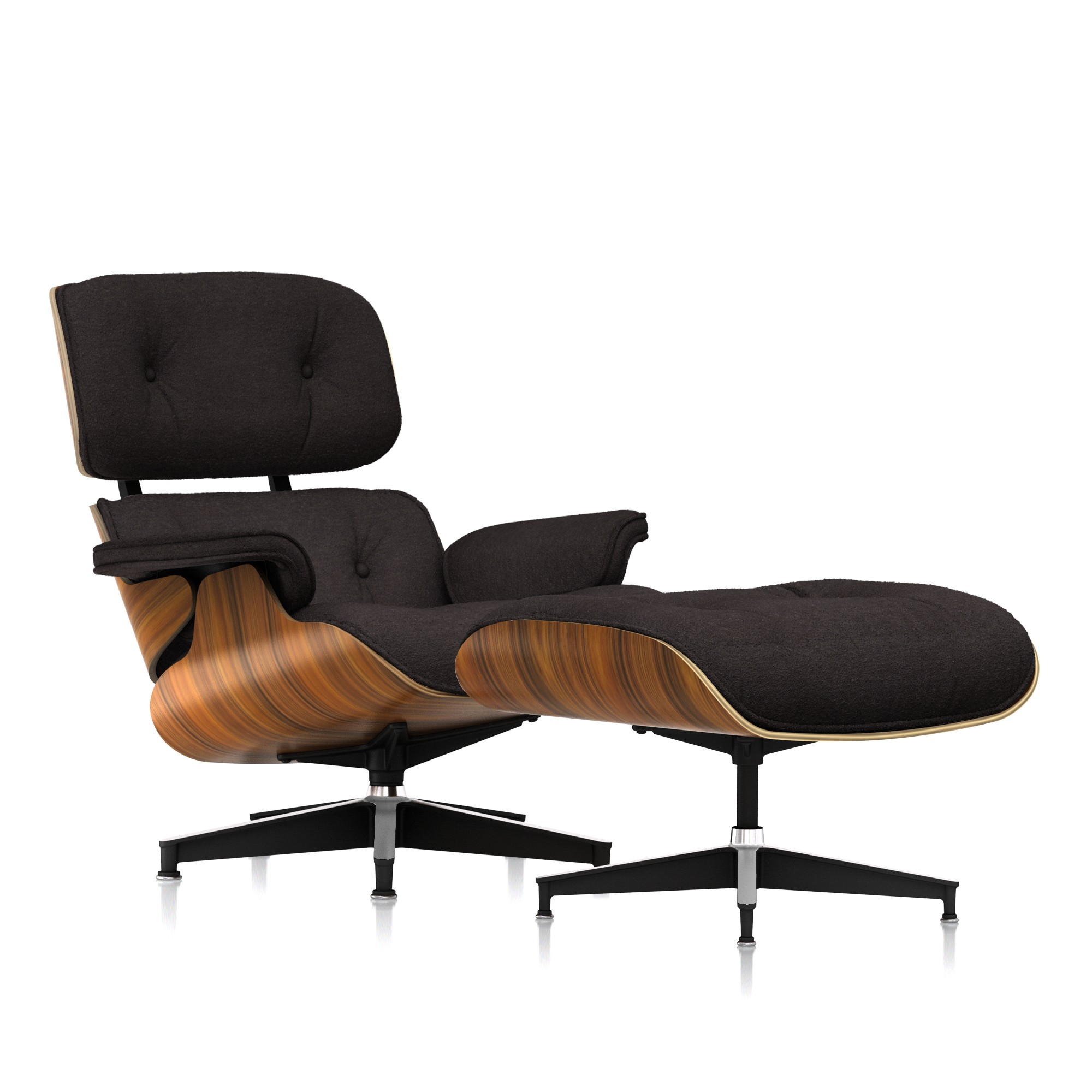 Eames Lounge Chair and Ottoman in Peat Mohair Supreme Classic by Herman Miller