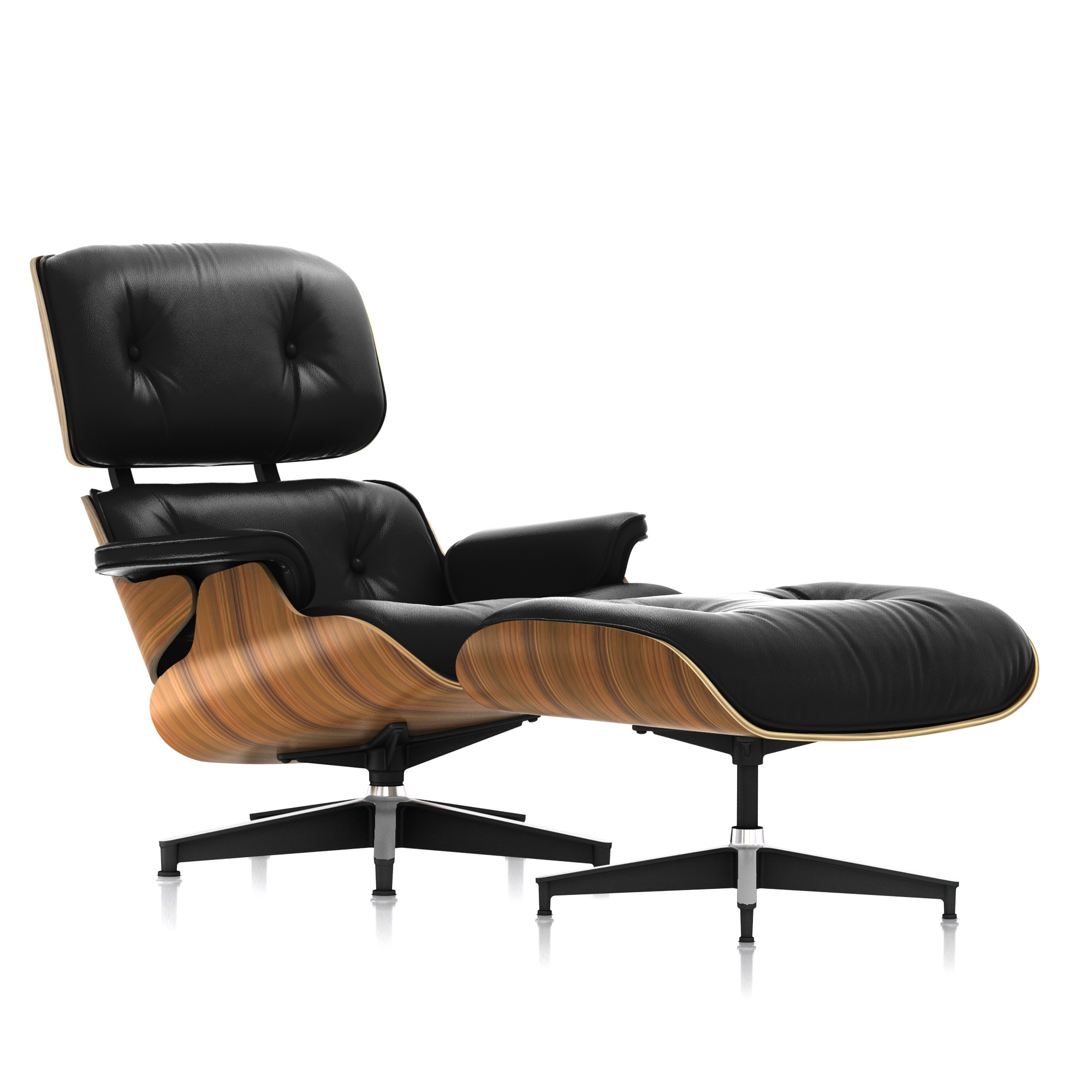 Eames Lounge Chair and Ottoman in Black Leather Tall by Herman Miller