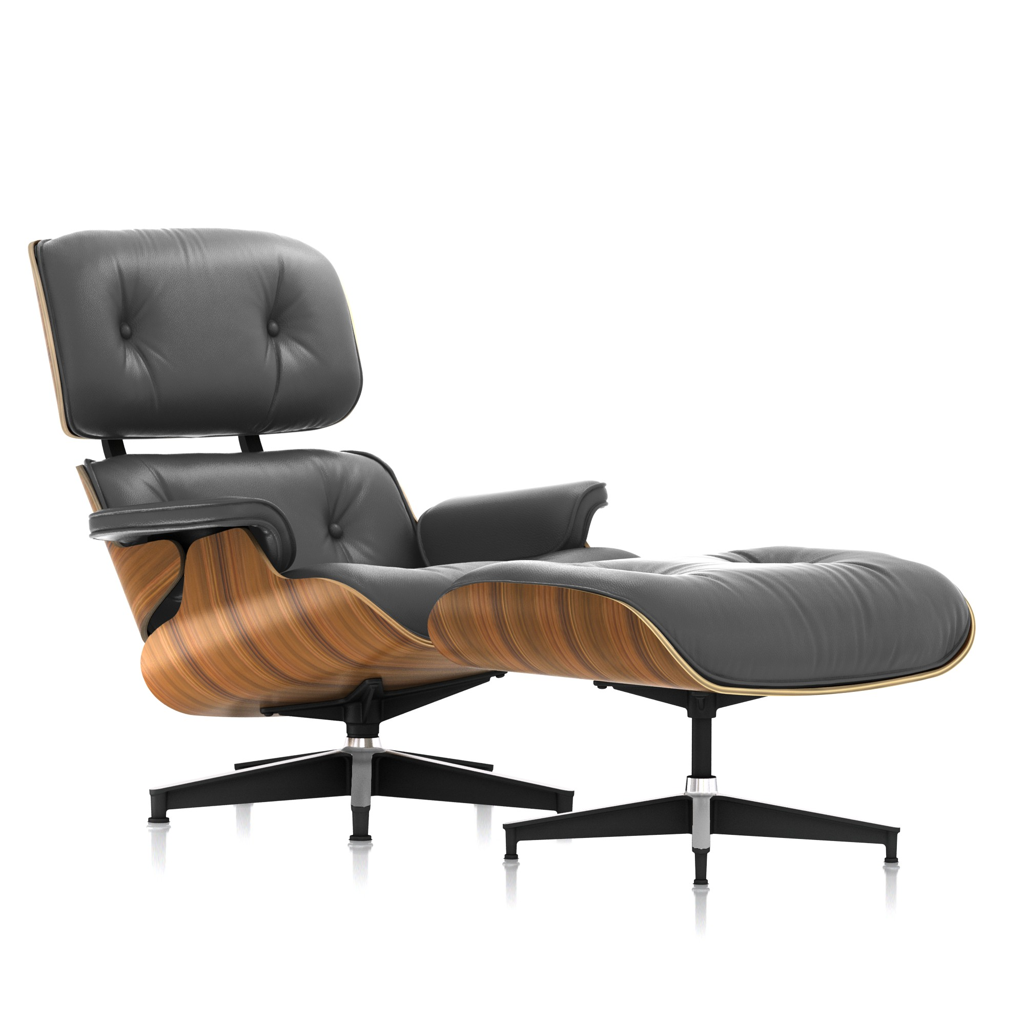 Eames Lounge Chair and Ottoman in Graphite Leather Tall by Herman Miller