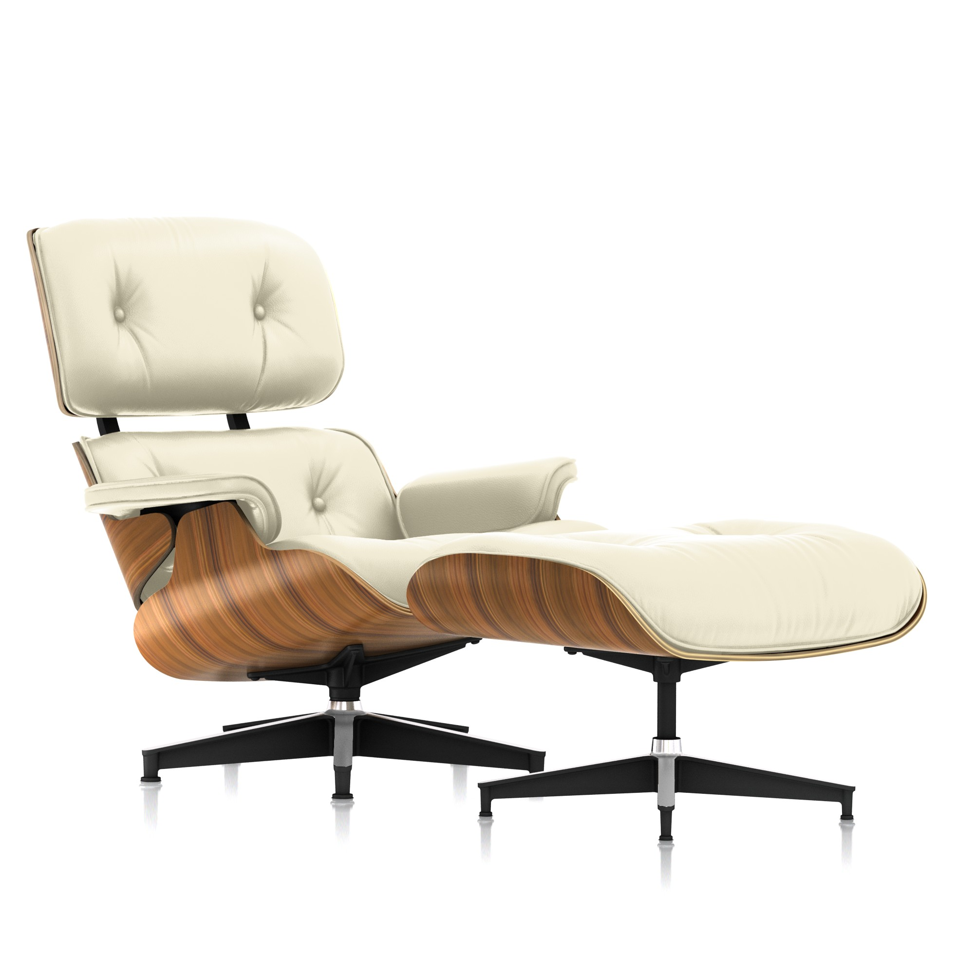 Eames Lounge Chair and Ottoman in Ivory MCL Leather Tall by Herman Miller