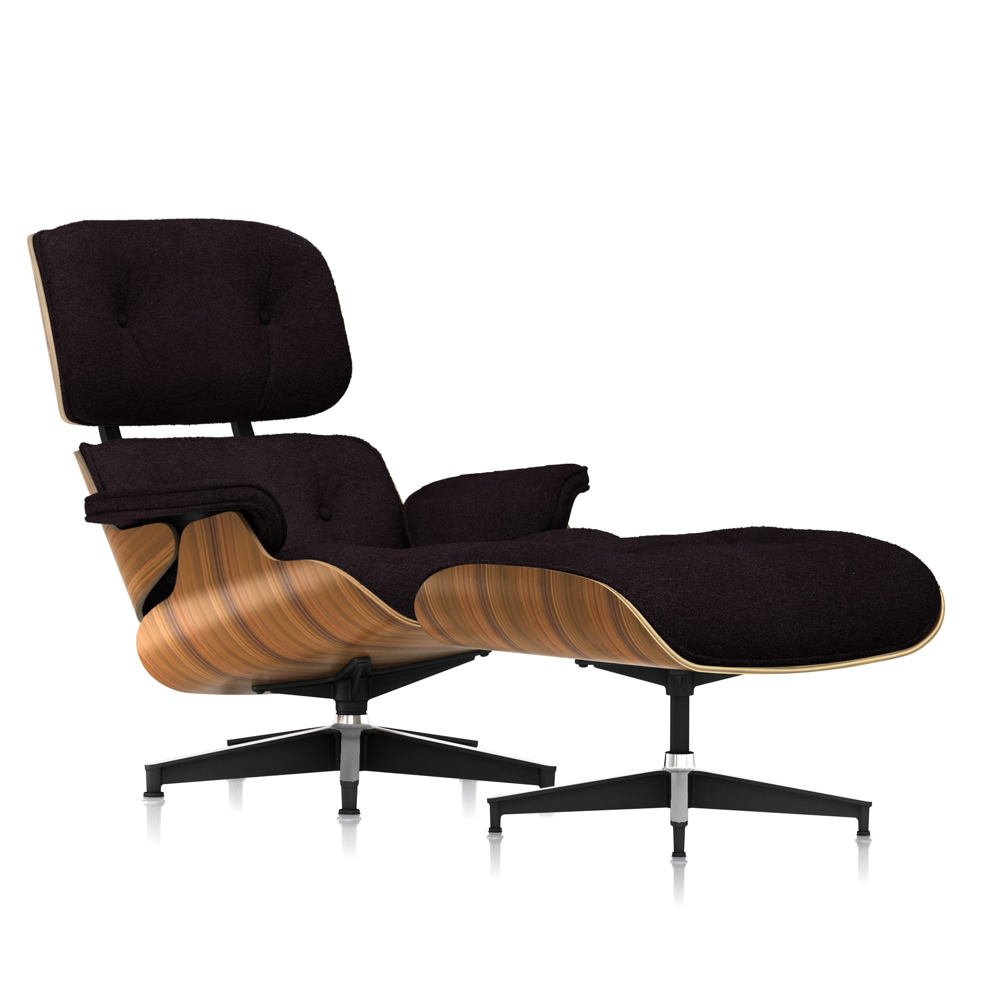 Eames Lounge Chair and Ottoman in Rich Chocolate Mohair Supreme Tall by Herman Miller