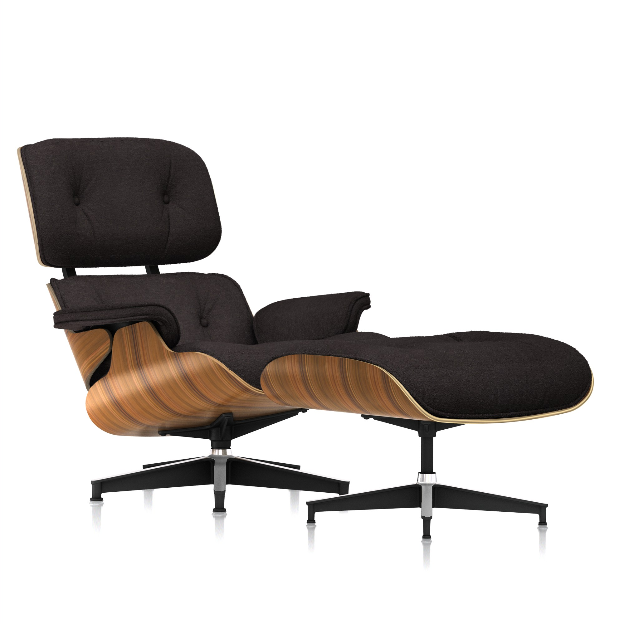 Eames Lounge Chair and Ottoman in Peat Mohair Supreme Tall by Herman Miller