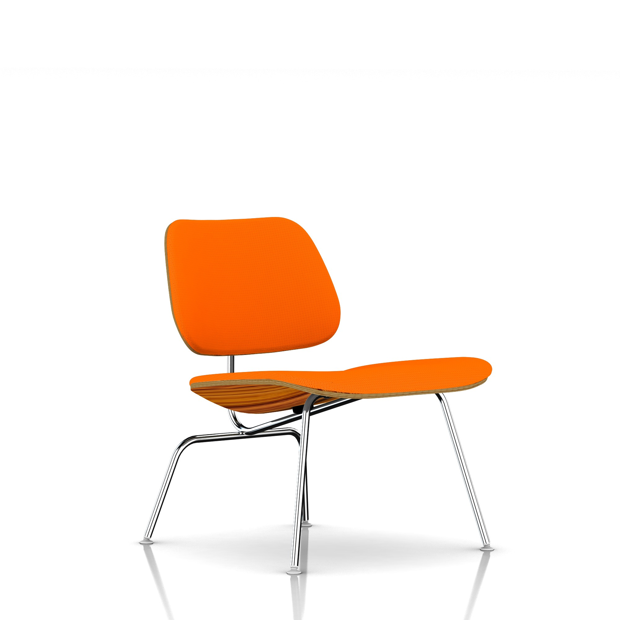 Eames Molded Plywood Lounge Chair in Tangerine by Herman Miller