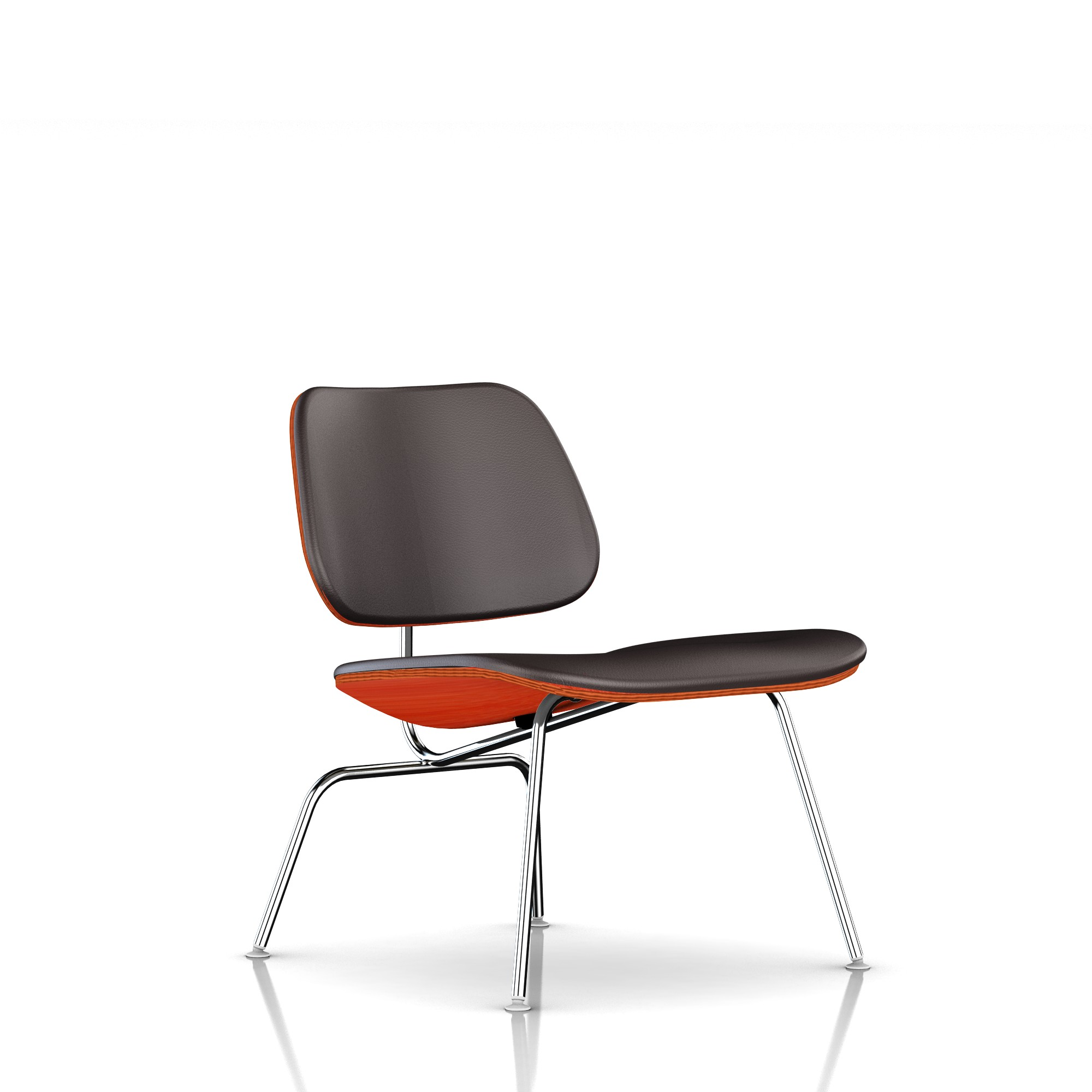 Eames Molded Plywood Lounge Chair in Espresso MCL Leather by Herman Miller