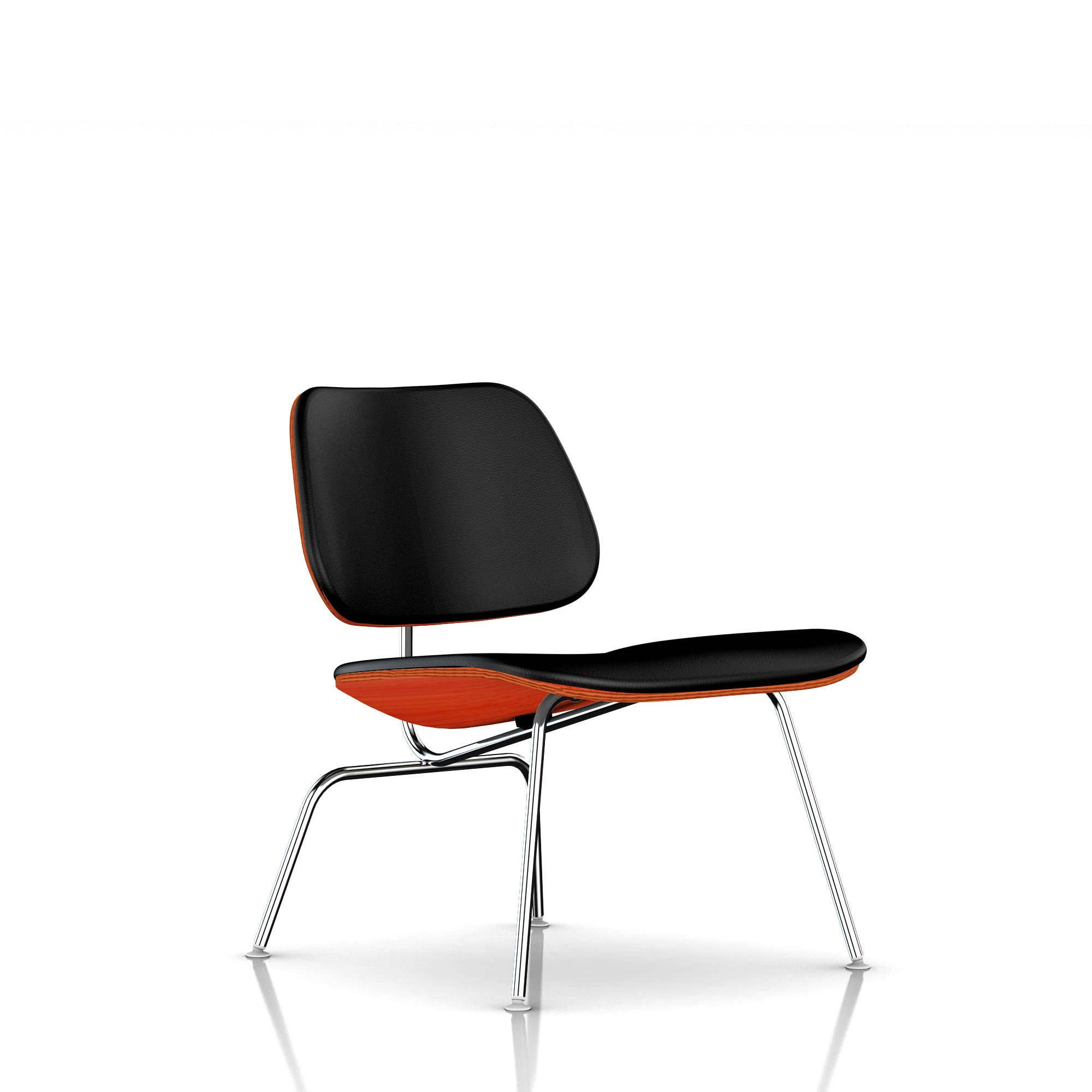 Eames Molded Plywood Lounge Chair in Black MCL Leather by Herman Miller