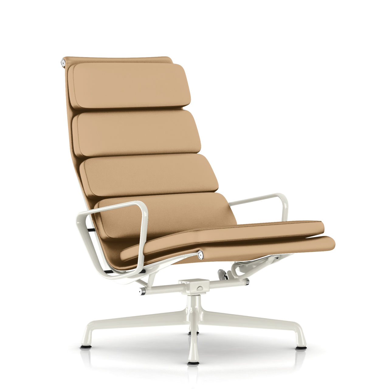 Eames Soft Pad Lounge Chair in Khaki Leather by Herman Miller